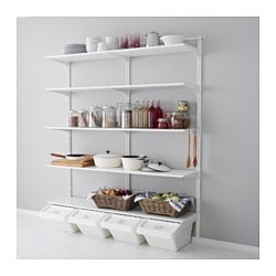ALGOT wall upright/shelf/hook, white Width: 176 cm Depth: 40 cm Height: 196 cm