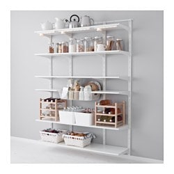 "ALGOT wall upright, shelf and basket, white Width: 60 5/8 "" Depth: 15 3/4 "" Height: 77 1/8 "" Width: 154 cm Depth: 40 cm Height: 196 cm"