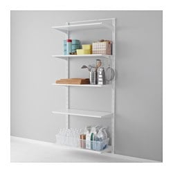 ALGOT wall upright/shelf/hook, white Width: 85 cm Depth: 40 cm Height: 196 cm