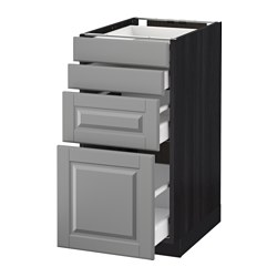 METOD /  MAXIMERA base cab 4 frnts/4 drawers, Bodbyn grey, black Width: 40.0 cm Depth: 61.9 cm Frame, depth: 60.0 cm