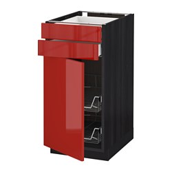 METOD /  MAXIMERA base cb w door/2 drwrs/wire bskts, Ringhult red, black Width: 40.0 cm Depth: 61.8 cm Frame, depth: 60.0 cm