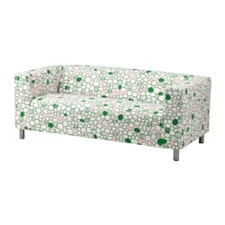 KLIPPAN loveseat cover, green, Marrehill pink Number of seats: 2 pieces Number of seats: 2 pieces