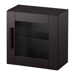 BRIMNES wall cabinet with glass door, black