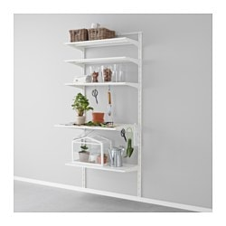"ALGOT wall upright, shelf and hook, metal white Width: 33 1/2 "" Depth: 23 5/8 "" Height: 77 1/8 "" Width: 85 cm Depth: 60 cm Height: 196 cm"
