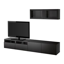 "BESTÅ TV storage combination/glass doors, Lappviken, Sindvik black-brown clear glass Width: 94 1/2 "" Height: 65 3/8 "" Min. depth: 7 7/8 "" Width: 240 cm Height: 166 cm Min. depth: 20 cm"