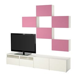 BESTÅ TV storage combination, Lappviken pink/white Width: 240 cm Min. depth: 20 cm Max. depth: 40 cm