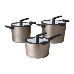 FÖRBLUFFAD 6-piece cookware set, golden-brown