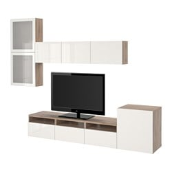 BESTÅ TV storage combination/glass doors, Selsviken high-gloss/white frosted glass, grey stained walnut effect