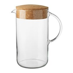 IKEA 365+ jug with lid, clear glass, cork Height: 21 cm Volume: 1.5 l
