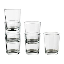 IKEA 365+ glass, clear glass Height: 9 cm Volume: 20 cl Package quantity: 6 pack