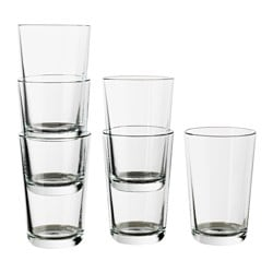 IKEA 365+ glass, clear glass Height: 12 cm Volume: 30 cl Package quantity: 6 pack