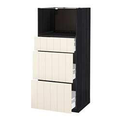 METOD /  MAXIMERA high cab for micro with 3 drawers, Hittarp off-white, black Width: 60.0 cm Depth: 61.8 cm Frame, depth: 60.0 cm