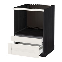 METOD /  MAXIMERA base cabinet f combi micro/drawers, black, Sävedal white Width: 60.0 cm Depth: 61.6 cm Frame, depth: 60.0 cm