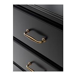 UNDREDAL chest of 6 drawers, black Width: 167 cm Depth: 49 cm Depth of drawer: 38 cm
