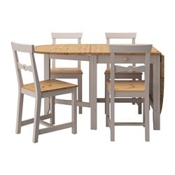 GAMLEBY table and 4 chairs, grey, light antique stain Length: 134 cm Min. length: 67 cm Max. length: 201 cm