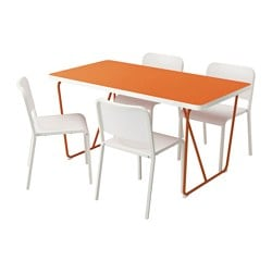 RYDEBÄCK/ BACKARYD /  MELLTORP table and 4 chairs, white, orange Length: 150 cm Width: 78 cm Height: 75 cm