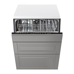 RENLIG, Built-in dishwasher with 3 fronts, Bodbyn gray
