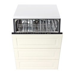 "RENLIG built-in dishwasher with 3 fronts, Bodbyn off-white Width: 24 "" System, depth: 24 "" Depth: 24 3/8 "" Width: 61.0 cm System, depth: 61 cm Depth: 61.8 cm"