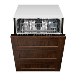 "RENLIG integrated dishwasher with 3 fronts, Edserum brown Width: 24 "" System, depth: 24 "" Depth: 24 3/8 "" Width: 61.0 cm System, depth: 61 cm Depth: 61.8 cm"