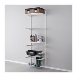 ALGOT wall upright/wire baskets, white Width: 65 cm Depth: 40 cm Height: 196 cm