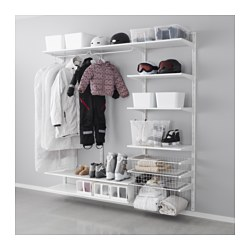 ALGOT wall upright/shelves/rod, white Width: 190 cm Depth: 40 cm Height: 190 cm