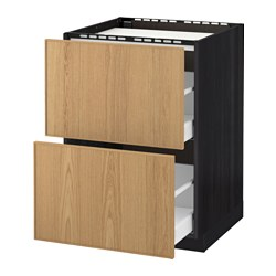 METOD /  MAXIMERA base cab f hob/2 fronts/2 drawers, Ekestad oak, black Width: 60.0 cm Depth: 61.8 cm Frame, depth: 60.0 cm