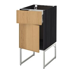 METOD /  FÖRVARA base cabinet with drawer/door, Ekestad oak, black Width: 40 cm Depth: 61.9 cm Frame, depth: 60 cm