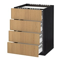 METOD /  MAXIMERA base cab f hob/4 fronts/4 drawers, Ekestad oak, black Width: 60.0 cm Depth: 61.8 cm Frame, depth: 60.0 cm