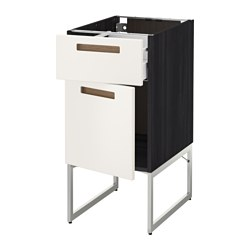 METOD /  MAXIMERA base cabinet with drawer/door, Märsta white, black Width: 40 cm Depth: 61.9 cm Frame, depth: 60 cm