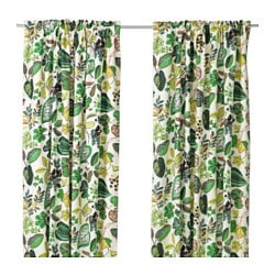 SYSSAN curtains, 1 pair, white/green Length: 300 cm Width: 145 cm Weight: 3.45 kg