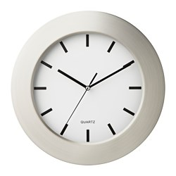 PERSBY wall clock, stainless steel, white
