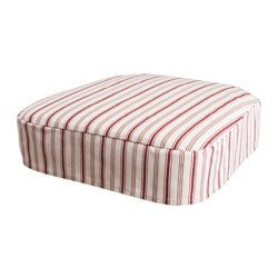 INGOLF chair pad, white, Alvine Smal dark red Width: 45 cm Depth: 56 cm Thickness: 2.5 cm