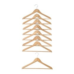 UPPIS hanger, light brown Width: 43 cm Package quantity: 8 pieces
