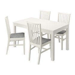 BJURSTA /  NORRNÄS table and 4 chairs, Isunda grey, white Length: 180 cm Min. length: 140 cm Max. length: 220 cm