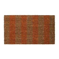 KVORING door mat, orange, natural Length: 70 cm Width: 40 cm Area: 0.28 m²