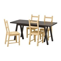 RYGGESTAD/ GREBBESTAD /  IVAR table and 4 chairs, black, pine Length: 170 cm Width: 78 cm Height: 75 cm