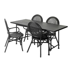 RYGGESTAD/ KARPALUND /  ÄLMSTA table and 4 chairs, rattan black, black Length: 170 cm Width: 78 cm Height: 75 cm