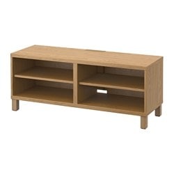 BESTÅ TV bench, oak effect Width: 120 cm Depth: 40 cm Height: 48 cm