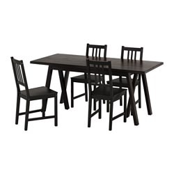 RYGGESTAD/GREBBESTAD / STEFAN, Table and 4 chairs, black, brown-black
