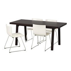 VÄSTANBY/ VÄSTANÅ /  BERNHARD table and 4 chairs, Kavat white, dark brown Length: 170 cm Width: 78 cm Height: 75 cm