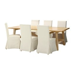 MÖCKELBY /  HENRIKSDAL table and 6 chairs, Blekinge white, oak Length: 235 cm Width: 100 cm Height: 74 cm