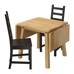 MÖCKELBY /  KAUSTBY table and 2 chairs, brown-black, oak Length: 114 cm Min. length: 79 cm Max. length: 150 cm