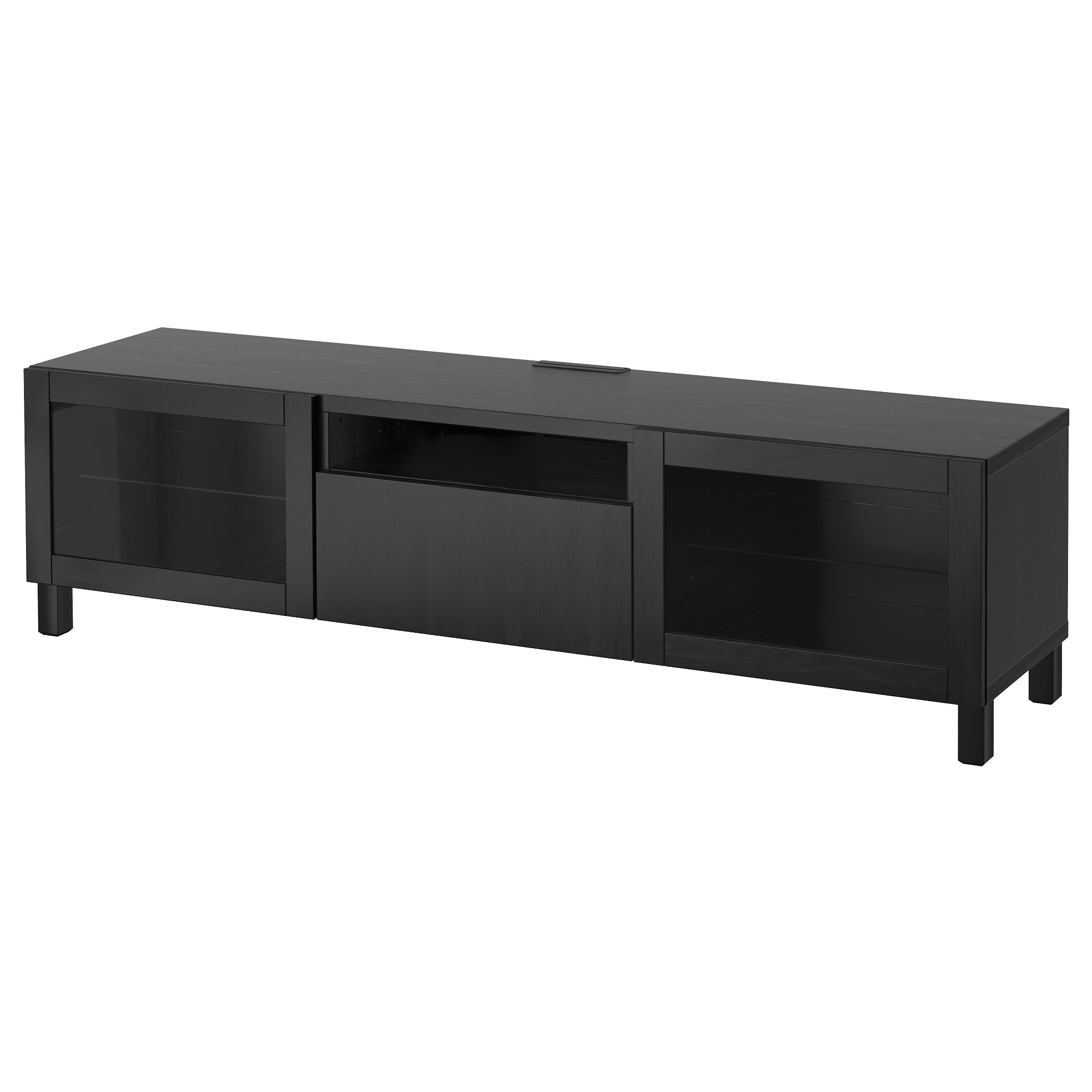 Best Tv Bench Black Brown Selsviken High Gloss Black Clear  # Meuble Tv Ferme Ikea