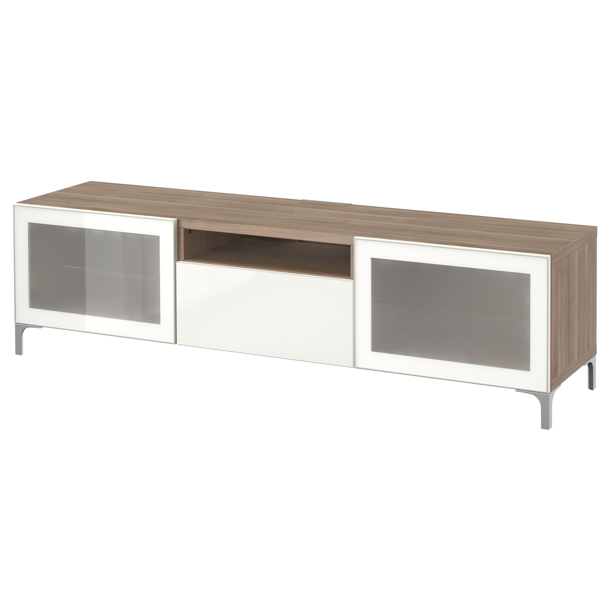 BEST… TV unit Lappviken Sindvik white clear glass drawer runner