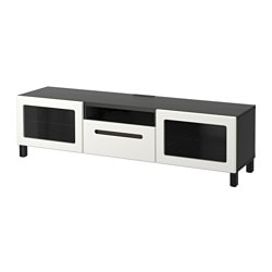 BESTÅ TV bench, Marviken white clear glass, black-brown Width: 180 cm Depth: 40 cm Height: 48 cm