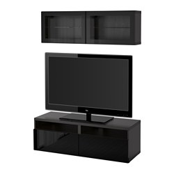 "BESTÅ TV storage combination/glass doors, Selsviken high gloss/black clear glass, black-brown Width: 47 1/4 "" Min. depth: 7 7/8 "" Max. depth: 15 3/4 "" Width: 120 cm Min. depth: 20 cm Max. depth: 40 cm"