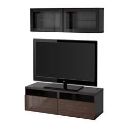 "BESTÅ TV storage combination/glass doors, black-brown, Selsviken high gloss/brown clear glass Width: 47 1/4 "" Height: 65 3/8 "" Min. depth: 7 7/8 "" Width: 120 cm Height: 166 cm Min. depth: 20 cm"