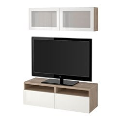 BESTÅ TV storage combination/glass doors, Selsviken high-gloss/white frosted glass, grey stained walnut effect Width: 120 cm Min. depth: 20 cm Max. depth: 40 cm