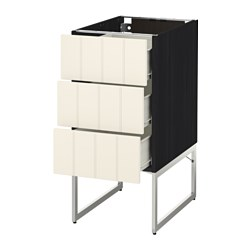 METOD /  FÖRVARA base cab 3 fronts/3 medium drawers, Hittarp off-white, black Width: 40 cm Depth: 61.8 cm Frame, depth: 60 cm