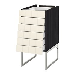 METOD /  MAXIMERA base cabinet 6 fronts/6 low drawers, Hittarp off-white, black Width: 40 cm Depth: 61.8 cm Frame, depth: 60 cm